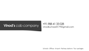 Vinod's cab company Business card